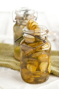 Paula Deen Icebox Bread and Butter Pickles. I substitute the sugar with Splenda and let me just say, Oh Boy!!