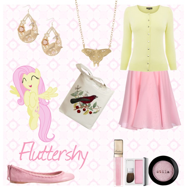 """Fluttershy """"My Little Pony: Friendship is Magic"""" Style Set, created by bluffingtondesigns on Polyvore"""
