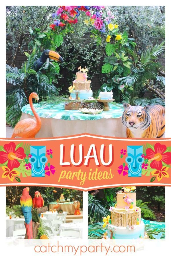 Luau Hawaiian Birthday Kaitlyn S 1st Birthday Catch My Party 1st Birthday Party For Girls Luau Birthday 1st Birthday Parties