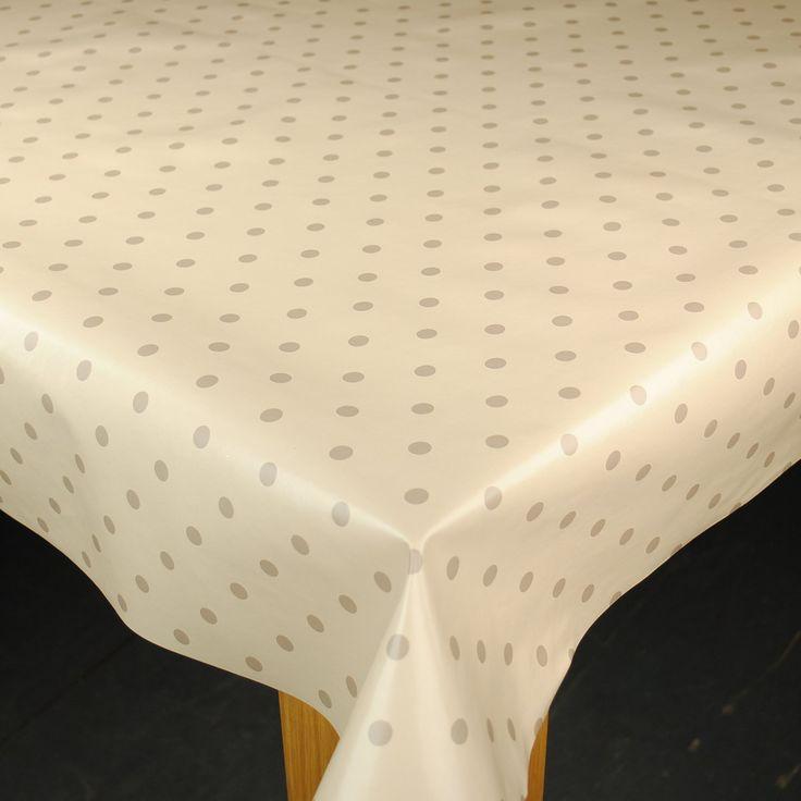 Cream & Beige Dotty Wipe Clean Tablecloth by Karina Home 200cm x 137cm: Amazon.co.uk: Kitchen & Home