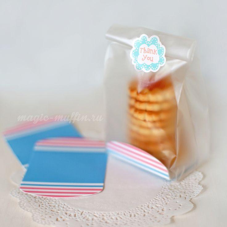 Пакет с голубо-розовым картонным дном cookies wrapping, cookies bag, cookies box