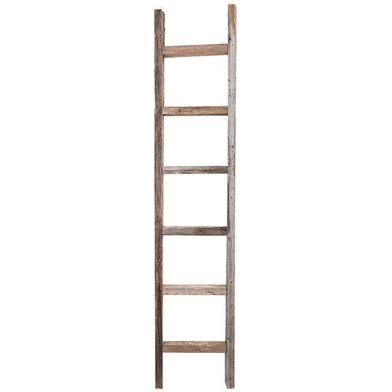 This Authentic Weathered Rustic Barnwood Ladder Is Made From Old 2x3 X27 S There Are 6 Rungs With A Space Of 7 Ladder Decor Old Wooden Ladders Wooden Ladder