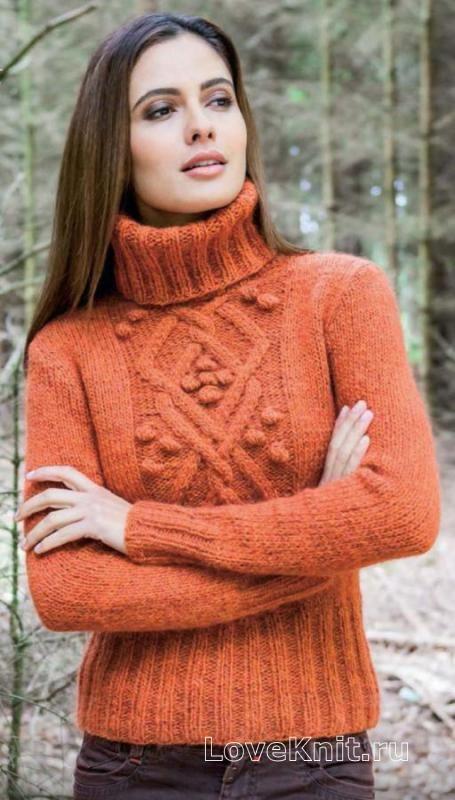 Спицами уютный свитер с шишечками фото к описанию