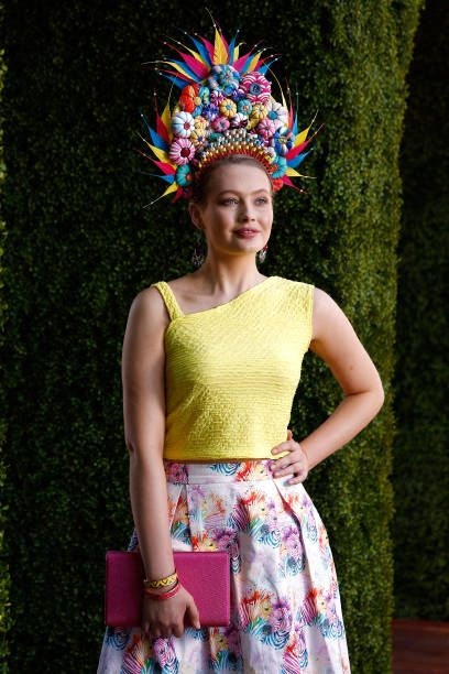 Myer Fashions on the Field contestants pose on Kennedy Oaks Day at Flemington Racecourse on November 9, 2017 in Melbourne, Australia.