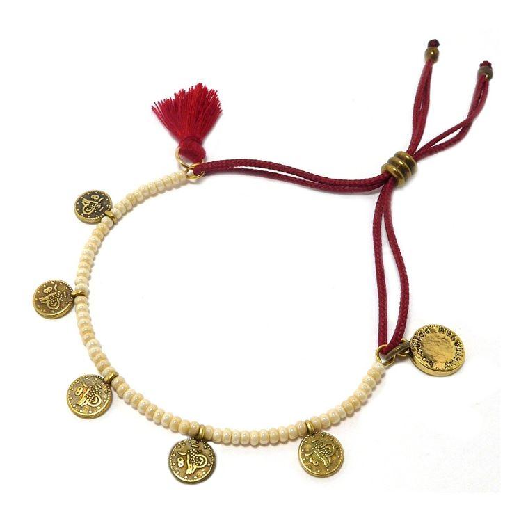 Armband muntjes antiek goud koord rood