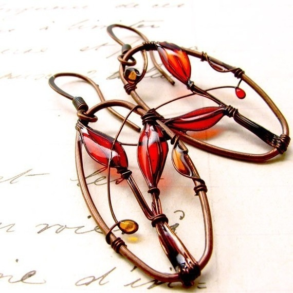 wire and...resin??,, earrings!