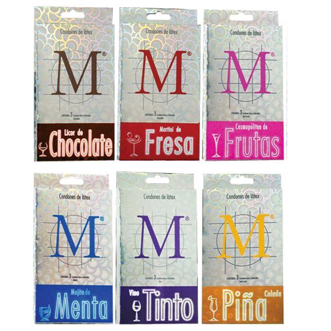 $70 MX M Sabores Caja c/3 Condón de látex con lubricante de sabor: Licor de chocolate, martini de fresa, cosmopólitan de frutas, mojito de menta, vino tinto y piña colada.