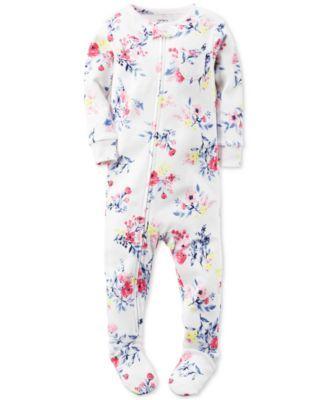 Carter's Baby Girls' 1-Pc. Floral-Print Footed Pajamas   macys.com