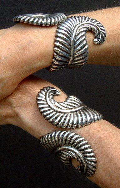 Los Castillos Taxco Mexico Sterling Silver Cuff Bracelets circa 1960