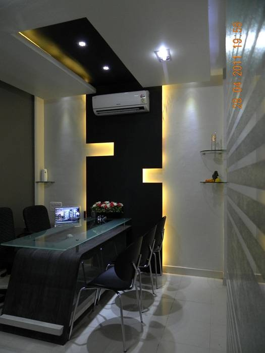 Classy office Interior with Dark Brown design.