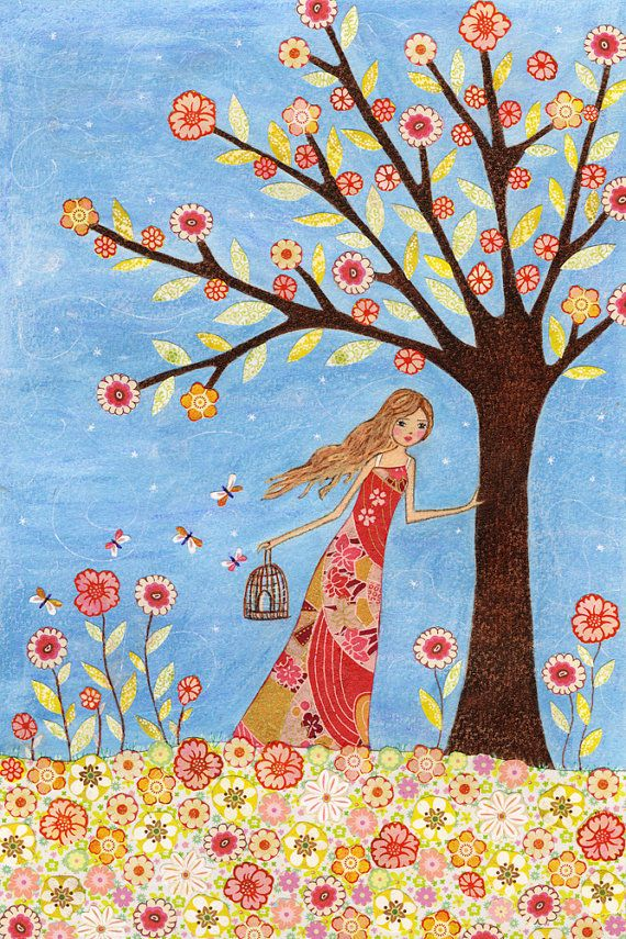 Fabric inspiration: Whimsical Folk Art Painting, Girl with Birdcage and Butterflies Art Print on Wood