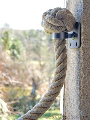 stair rope in hemp with gunmetal finish wrought iron brackets and 2 ply manrope knot