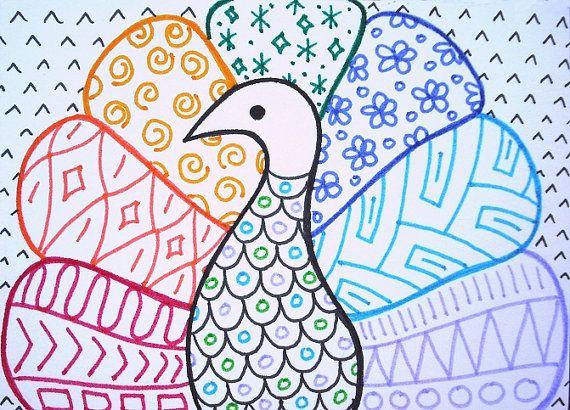 Peacock zentangle ACEO, peacock artwork, rainbow zen doodle, bird art