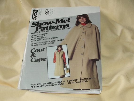 McCalls 5753 - Misses cappotto senza maniche interno sfoderato con staccabile Cape: polsini, interno sfoderato cappotto ha un folled collo