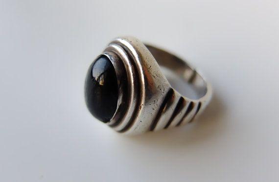Ancien anneau étoile noir, noir saphir étoilé, argent Sterling, Signet rétro, Art Deco, bague Massive, 4 rayons Star, déclaration anneau, anneau lourd