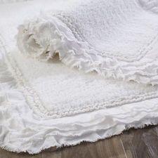 Frayed Edge White 21x34 Bath Rug