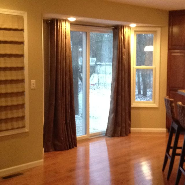 30 best images about curtains window treatments on for Sliding glass doors kitchen