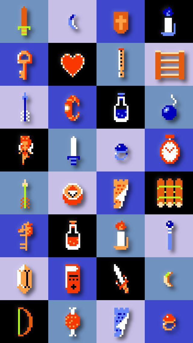 Zelda 8 Bit Items Zelda Iphone Wallpaper Zelda Wallpaper