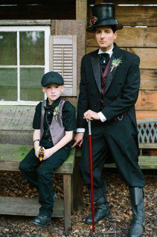 Свадьба в стиле стимпанк, жених и мальчик