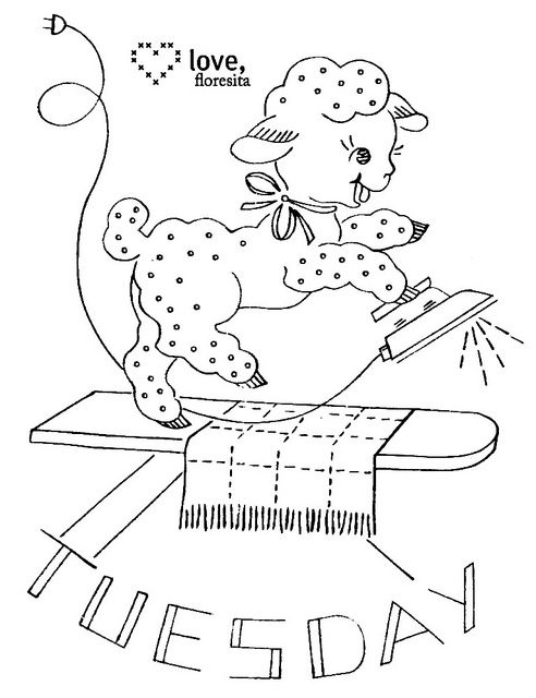 Day of The Week Embroidery Patterns ~ Individual downloads via Flickr ...