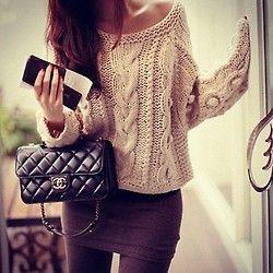 Mini Skirt. Slouchy Sweater. Chanel**