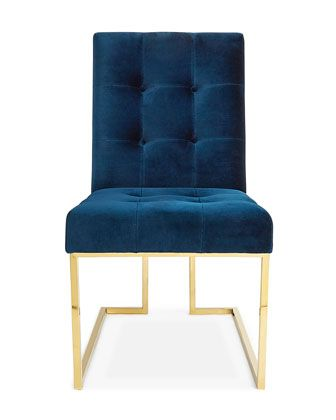Goldfinger+Navy+Dining+Chair+by+Jonathan+Adler+at+Horchow.