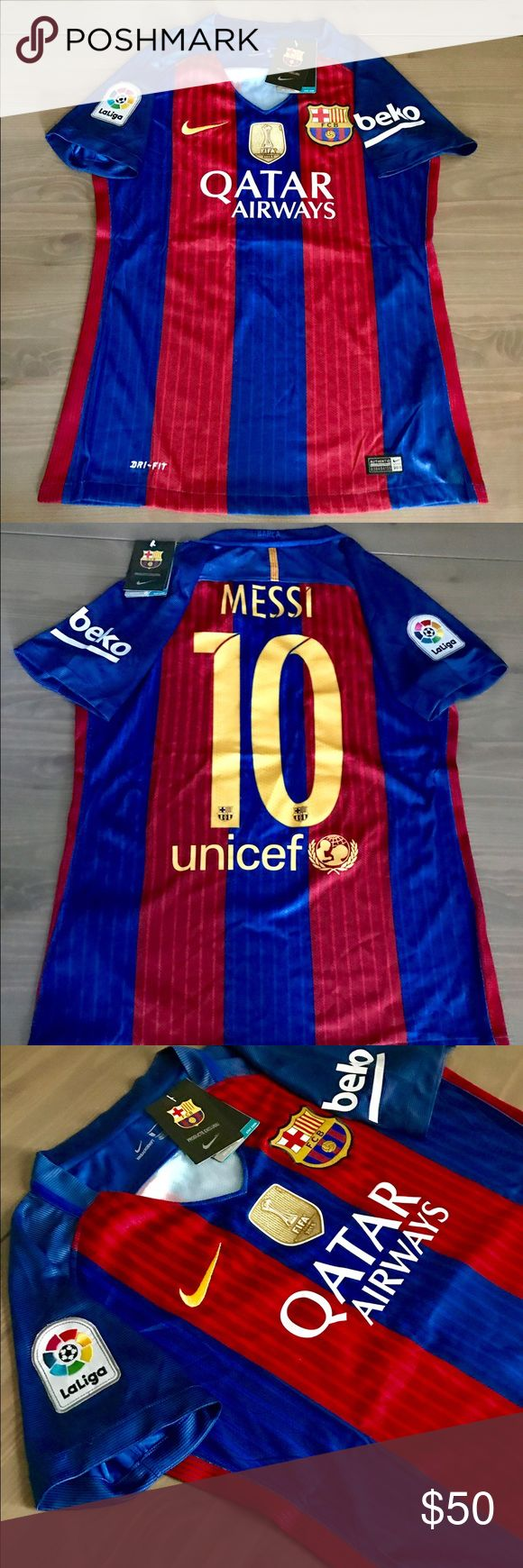 Women Messi #10 Barcelona Jersey Soccer Nike Women Messi #10 New Season 16/17 Barcelona Barca home Jersey liga Beko Patch Soccer Nike Gold fifa patch  Size: Large Nike Tops Tees - Short Sleeve