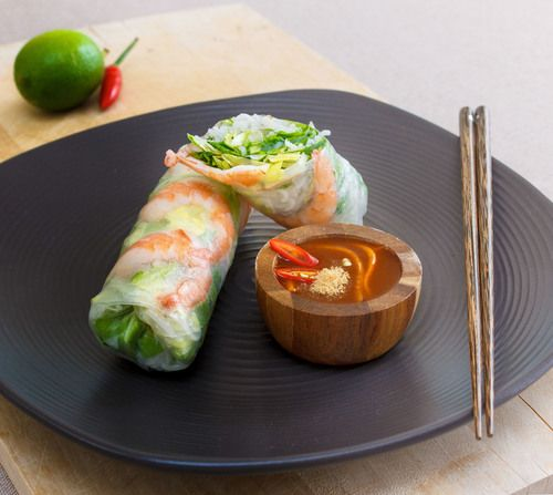Goi Fresh Rolls are vietnamese salads, herbs, meats and rice vermicelli  wrapped into a transparent rice paper package. They are packed with  goodness and full of fresh flavours.