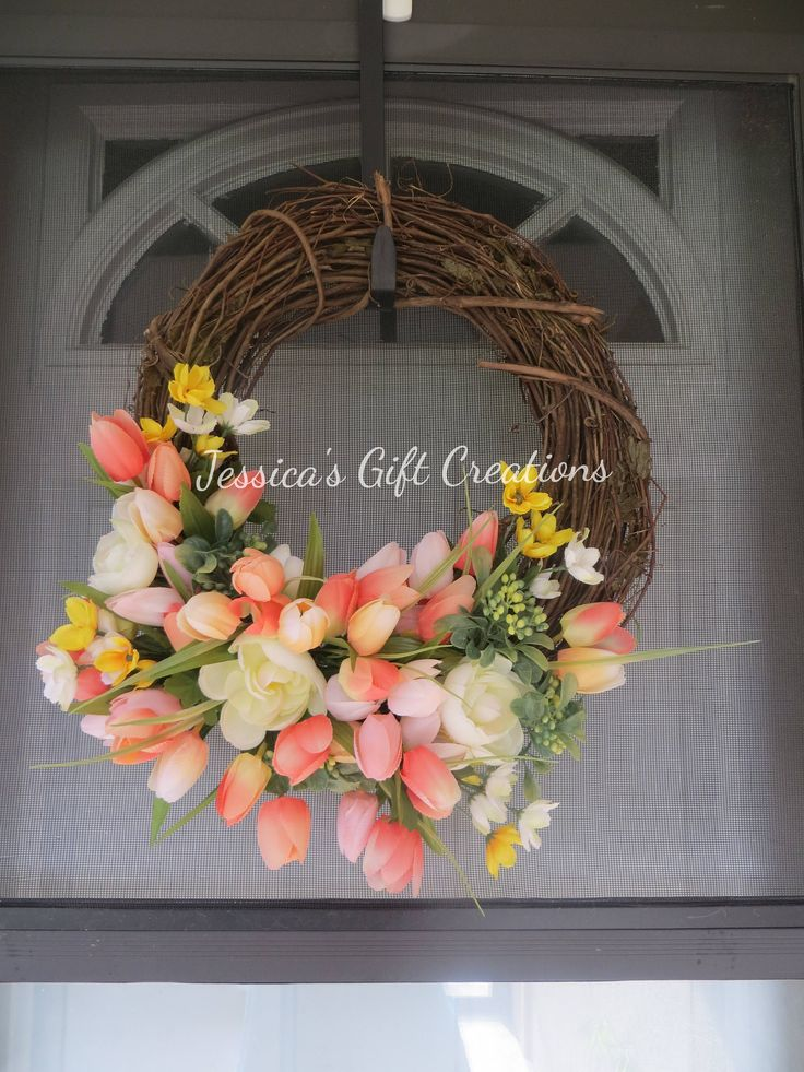 Ready to Ship Tulips Grapevine Wreath/Front Door Wreath/Coral Decor/Summer/Spring/Flowers Wreath/Everyday/Welcome/Monogram/Housewarming Gift by JessicasGCreations on Etsy
