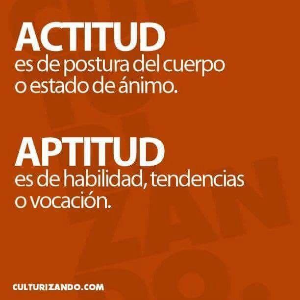 Actitud: postura, estado de ánimo. Aptitud: habilidad o vocación.