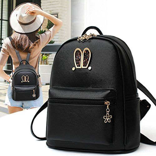 c718e50bff Wink Kangaroo Stylish Girls Ladies PU Leather Backpack Shoulder Bag Purse  Crossbody Handbag (Black)  Shoes