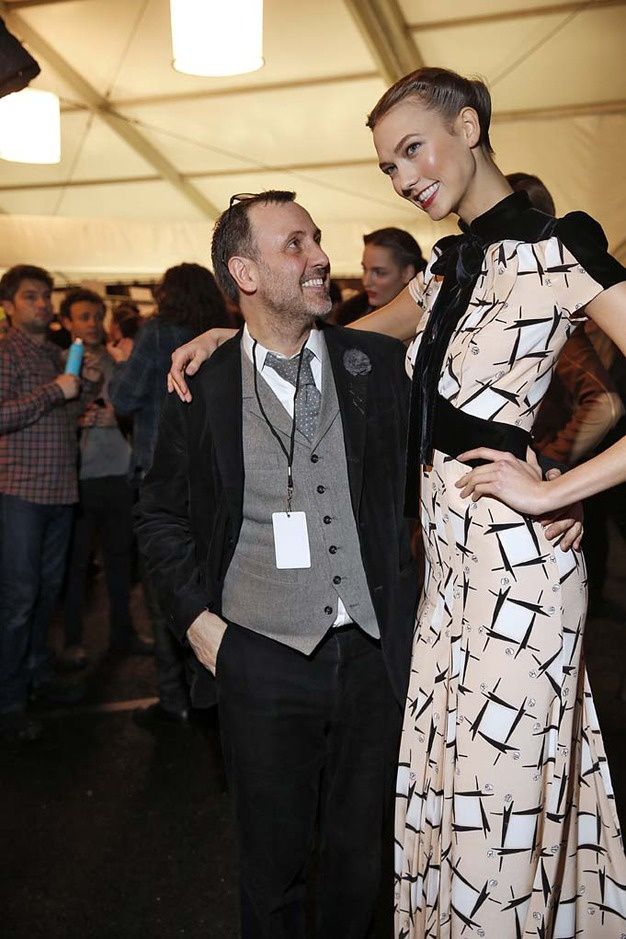#KarlieKloss, after the #CarolinaHerrera Fall/Winter 2013 #RTW Collection, during #NYFW