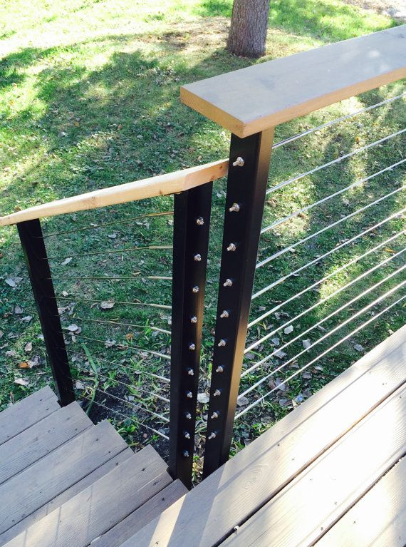 These cable rail deck posts are made of steel with 10 holes cross drilled for fitting all local building code cable railing to your deck. universal design allows you to bolt the plate to the fascia side of your deck and the floor plate style is used on deck/floor mount posts.  2 x 2 square or 3 x 2 Intermediate posts are used every 4 between the heavy gauge anchor end posts and anchor style lighter gauge line posts are used every 12- 16. Painted in black powder coat. Please message me ab...