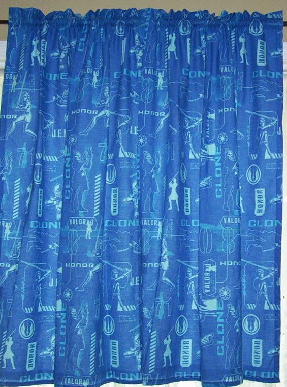 Valance using the clone wars star wars fabric curtains for Star curtain fabric