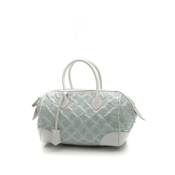Pre-Owned Louis Vuitton Mint Monogram Bouclettes Speedy Round Bag ($1,615) ❤ liked on Polyvore featuring bags, handbags, evening handbags, mint purse, white patent leather handbag, louis vuitton and louis vuitton purses