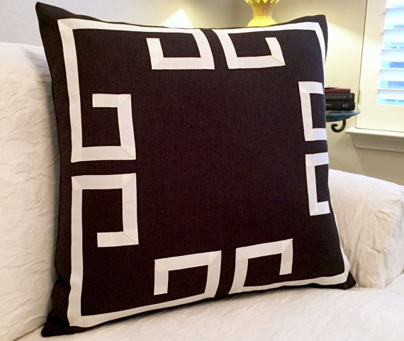 Greek Key Pillow Cover-Fretwork Pillow-Black by LivyPaigeDesigns