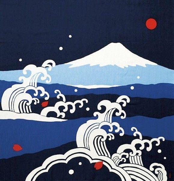 Large Size 'Mt. Fuji in the Waves' Design Japanese Furoshiki Cotton Fabric