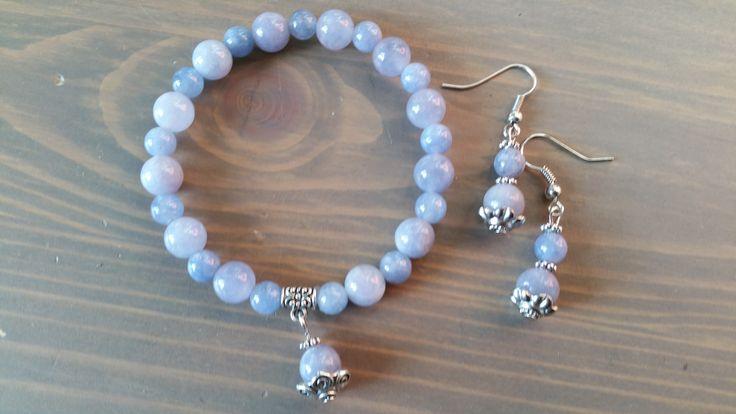 Aquamarijn armband met oorbellen