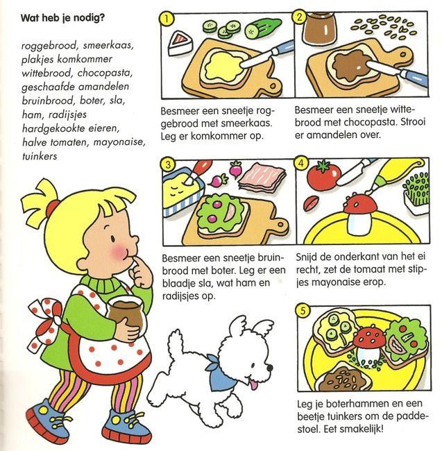 Kookfiche boterhammen beleggen en paddenstoeltje maken om op te eten