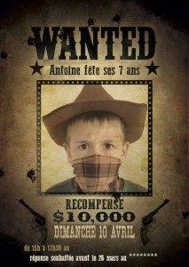 Carton d'invitation - anniversaire Cowboy - WANTED                                                                                                                                                                                 Plus
