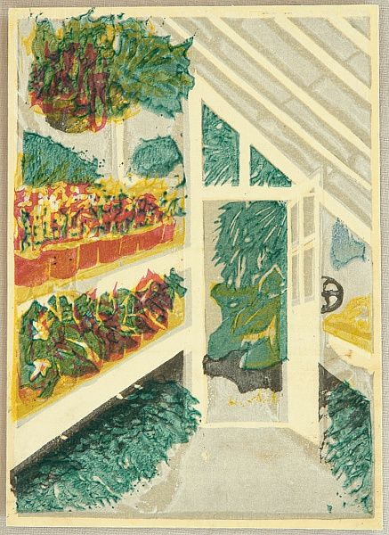 Koshiro Onchi 1891-1955 - The Shinjuku Gyoen National Garden - Greenhouse  Artelino