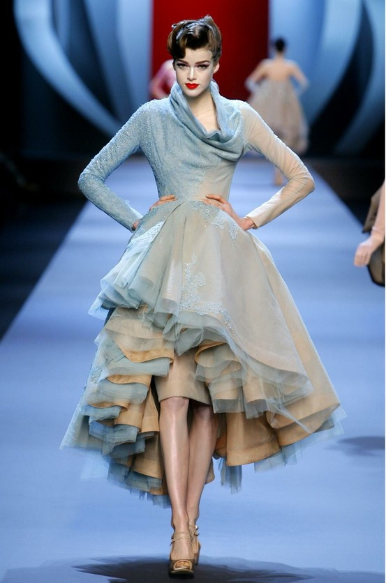 dior flesh silk and light blue dégradé tulle and lace