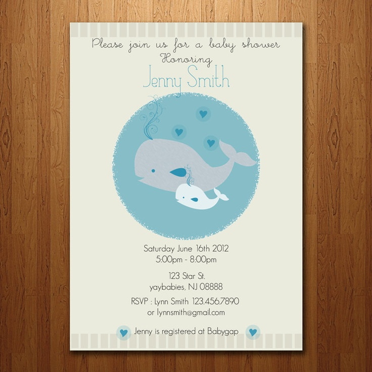 Whale Baby Shower Invitation Boy or