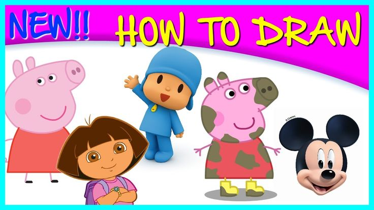 How to Draw Pocoyo, Dora, Peppa Pig, Mickey | Drawing Time Lapse | 85367...