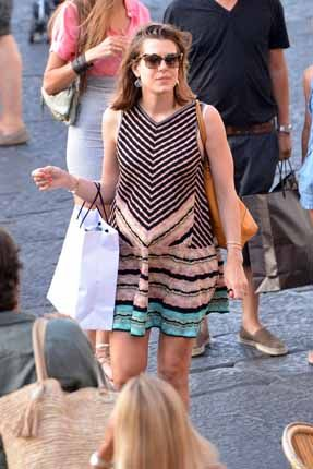 A radiant Charlotte Casiraghi sporting a tummy now evident in the large maternity dress while strolling through the streets of Capri Charlotte Casiraghi pregnant, sweet life in Capri with his Gad Elmaleh