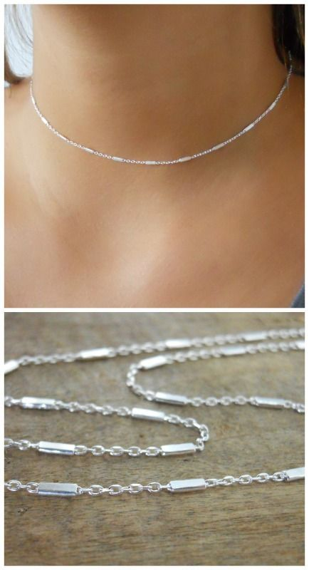 Beautiful silver choker necklace.