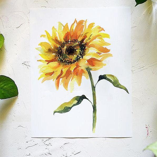 Sunflower Watercolor Kit Sunflower Watercolor Painting Watercolor Sunflower Watercolor Kit