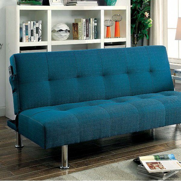 This sleek contemporary futon sofa is comfortable and functional. The sofa converts to a bed easily and has sturdy chrome legs and a hidden extra leg for support. It has a subtle dark teal finish that blends with all decor styles. The manufacturer focuses on providing top quality and value to their customers with their vast selection of product categories which include decorative accessories, accent furniture, mirrors, wall décor, lighting and garden. They are committed to maintain high…