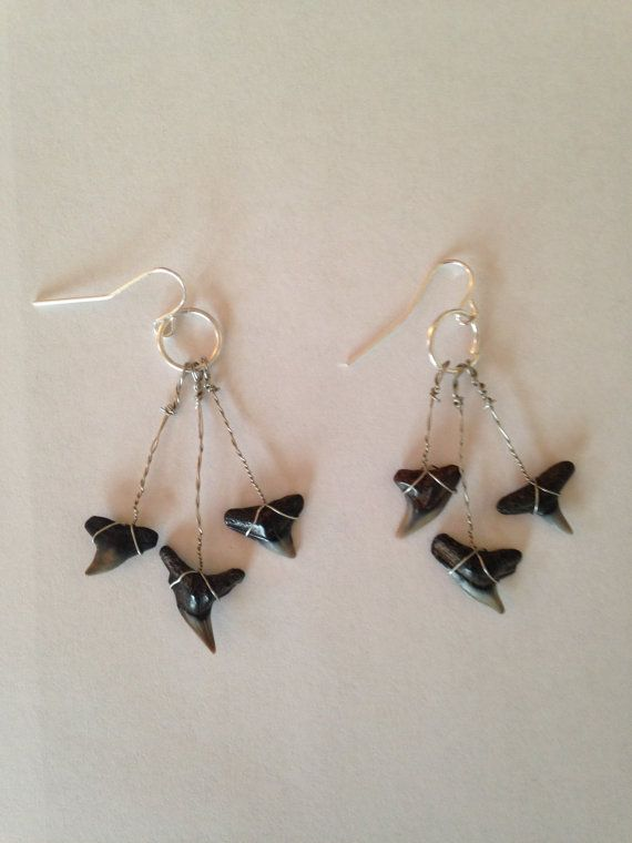 Shark's Teeth Dangle Earrings by DayDreamingDecor on Etsy, $6.00
