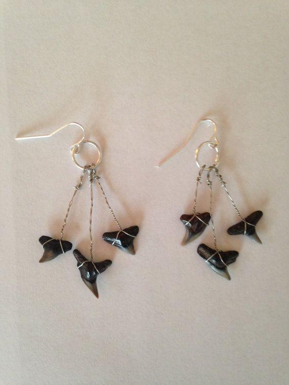 Shark's Teeth Dangle Earrings by DayDreamingDecor on Etsy, $6.00